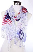 Peace Sign with United States Flag Thin Silk Feel Viscose Scarf, White