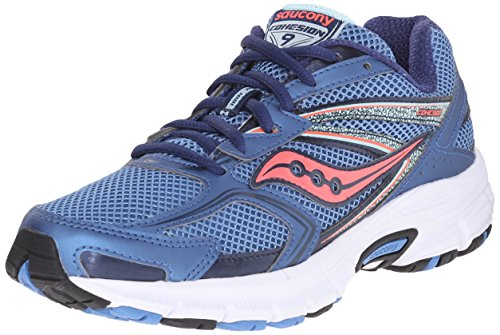 Saucony Women's Cohesion 9 Running Shoe, Blue/Light Blue/Coral, 7.5 M US