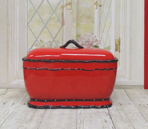 Tuscany Hand Painted Red Ruffle Bread Box, 85275 By Ack back-445430