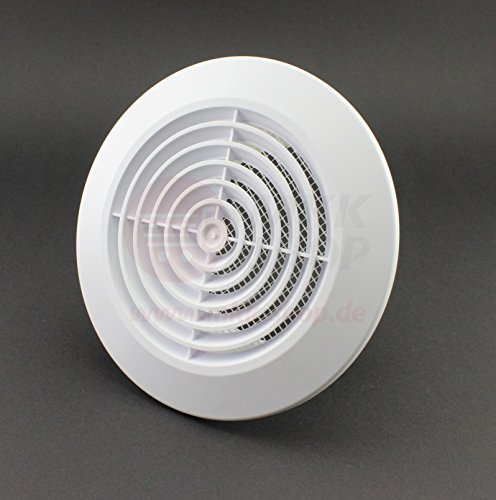 Fussy Choice - Griglie di aerazione per muro e soffitto con protezione anti-insetti (T64), copertura circolare per griglia soffitto, Ø 100 mm