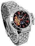 自動巻き腕時計スワロフスキー時計テンプスケルトンブラック文字盤シルバーベルトリューズカバー付きサン&ムーン24時間針金属ベルト銀色シルバー[並行輸入品]