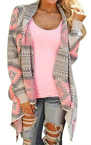 Myobe Women's Aztec Print Drape Open Front Drape Boyfriend Cardigan Sweaters, XX-Large, Pink Red (Clothes Women Sweaters compare prices)