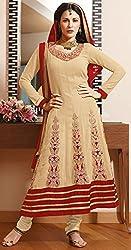 Aayushman Womens Faux Georgette Anarkali Semi-Stitched Dress Material (Sd3011 _Butter Cream)