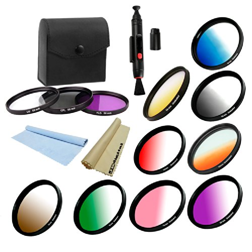 58Mm Professional Lens Accessory Kit For Canon T3I T3 T4I T2 T2I T1I Xt Xti Xsi 60D 50D 40D 7D 6D 5D Mark Ii --Includes: Graduated Color Filters (Yellow, Orange, Blue, Red, Grey Nd, Pink, Purple, Green And Brown) + Multi-Coated Filter Kit (Uv, Cpl, Fld) +