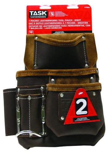 Task Tools T77306 Leather Master Carpenter'S Tool Bag, Right, 7-Pocket