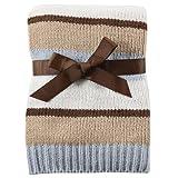 Hudson Baby Striped Chenille Blanket, Blue