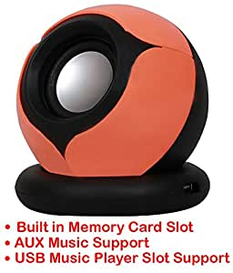Portable Mini Speaker Supports with Memory Card/ USB / AUX Function Compatible For LG F70 D315-ORANGE