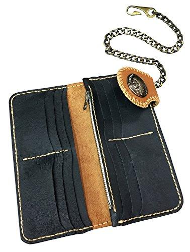 D'SHARK Men's Biker Genuine Leather Billfold Wallet with Chain (Brown) 1