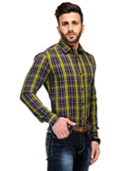 Edjoe Men's Navy & Yellow Check Solid Casual/Party Wear Shirt