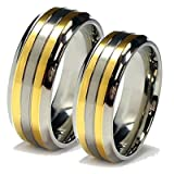 Matching 8mm Titanium and 18k Gold Rings His & Hers Ring Set Wedding Bands Engagement Rings (Availab