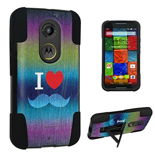 Durocase ® Motorola Moto X 2Nd Gen. 2014 Kickstand Bumper Case - (Denim Love Mustache)