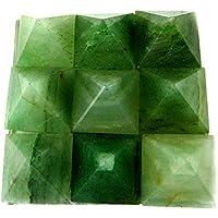 Eshoppee Set Of 9 Small Green Aventurine Stone Pyramids On Plate Crystal Healing