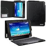 """Evecase Transformer Pad TF701T Housse etui en cuir compatible avec tablette ou tablette+ clavier - Noir Pour ASUS Transformer Pad TF701T 10"""" Android Tablette PC"""