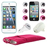 Skque 5 Inch Pink Soft Sleeve Cloth Pouch Velvet Case + Clear Screen Protector Cover + USB 1000mAh Home/Travel Wall Charger + Rapid Car Charger + 6 Pcs Bling Diamond Crystal Style Home Button Sticker for Apple iPod Touch 5th Generation