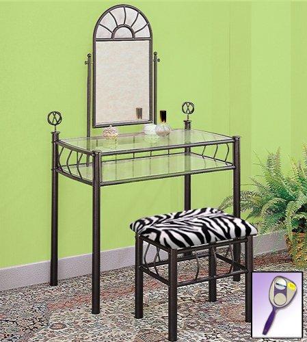 White Bedroom Vanity With Mirror front-67212
