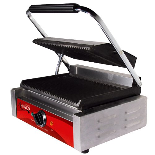 (Ship from USA) Avantco P78 Grooved Commercial Panini Sandwich Grill - 120V, 1750W /ITEM NO#E8FH4F854112329