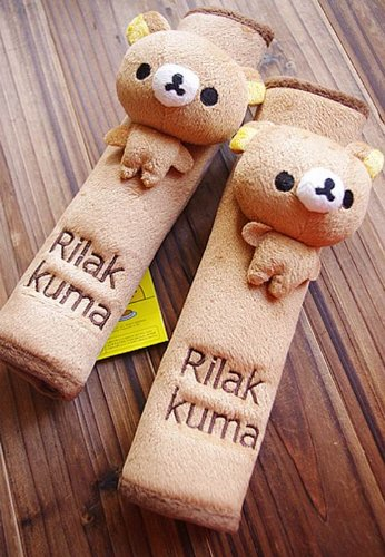 Rilakkuma Bear Plush Seat Belt Cover Toy Car Accessory(2 Pcs) - 1