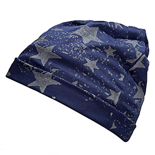 Orgrim Unisex Slouchy Ski Snowboard Hat Ribbed Beanie Beanie Baggy Thin Hip-hop Print Skullcap (Navy Blue/Star) (Thin Skull Cap compare prices)