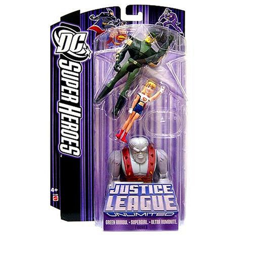 Buy Low Price Mattel DC Super Heroes Justice League Unlimited Action Figure 3-Pack with Green Arrow, Supergirl & Ultra Humanite [Purple Card] (B0011EO1KE)