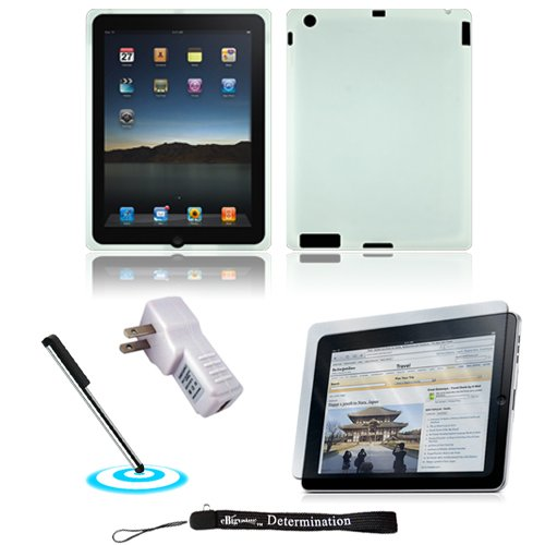 White Silk Premium Durable Protective Skin for Apple iPad 2 Tab Tablet 2nd Generation + Includes a High Quality and Durable Anti Glare Screen Protector, will prevent from any scratches and dirt going to your iPad Touch Screen + Includes a Home Wall Charger and a Graphic Designer Stylus Pen