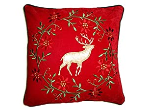 White Reindeer & Christmas Wreath Luxury Christmas Scatter Cushion