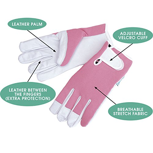 Ladies leather gardening gloves feminine slim fit work for Allotment tools for sale