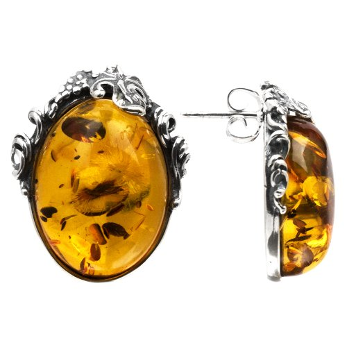 Baltic Light Honey Amber Sterling Silver Oval Antique Reproduction Style Studs Earrings