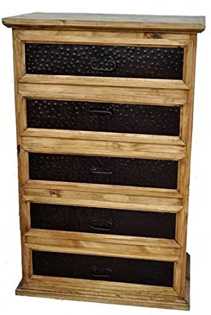 Rustic Western Chipilo 5 Drawer Chest Of Drawers, Real Wood Dresser