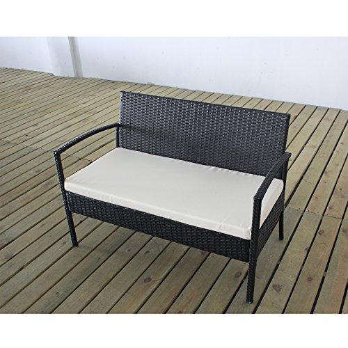 Complete Outdoor Indoor 4 Piece Rattan Wicker Coffee Table Garden Patio Furniture Set Black