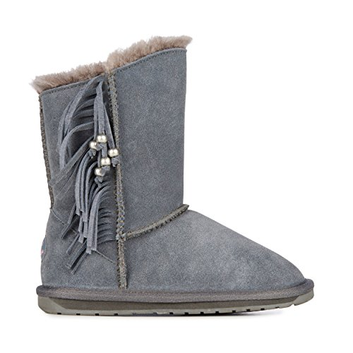 EMU - STANWELL KIDS K11328, boot pelle con pelo e frange, Grigio (Charcoal Anthracite)003) (25-26)