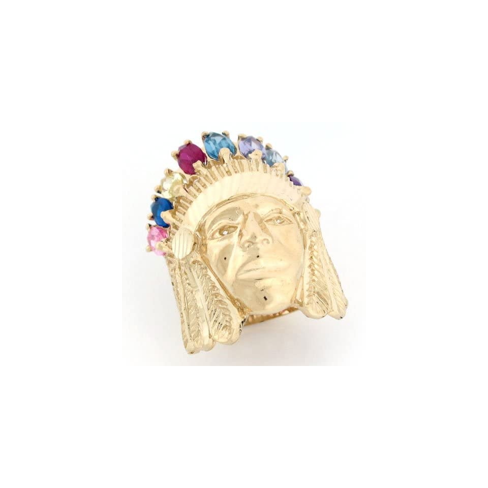 10k Gold Native American Indian Chief Huge Ring