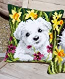 Vervaco Westie in Daffodils Cross Stitch Cushion Multi Colour