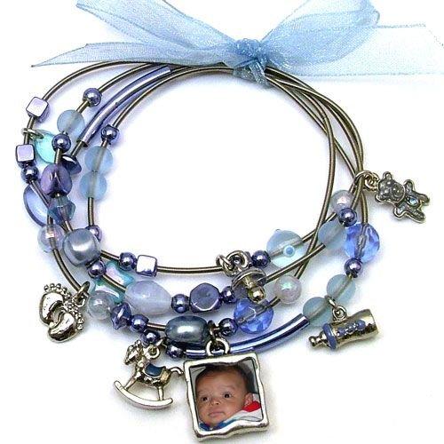 Memory Maker Baby Boy Keepsake Picture Photo Frame Charm Bracelet