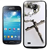 Silver Rosary with Image Of Jesus Christ on Cross Hard Case Clip On Back Cover For Samsung Galaxy S4 Mini i9190