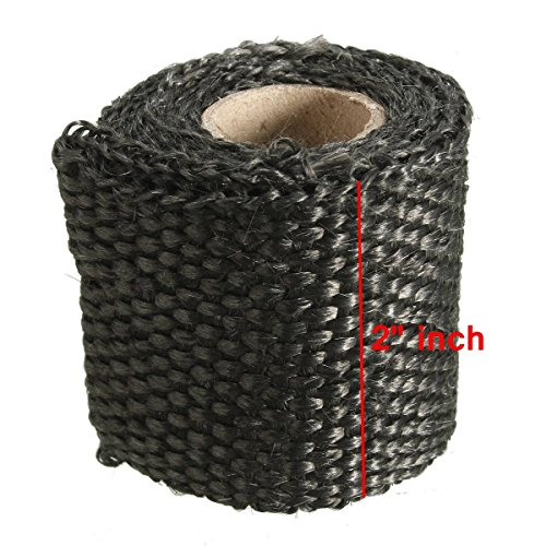 AUDEW 3ft x 2 Inch Exhaust Heat Wrap Fiberglass Heat Shield Tape for Motorcycle Protection 4 Colors Optional Black 1