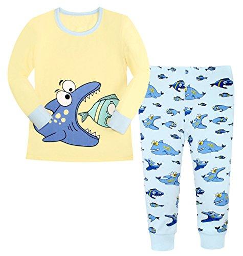 Attraco-Jungen-Schlafanzug-Hai-Motiv-Zweiteilig-Fische-Pyjama-Lang-5-6-Jahre