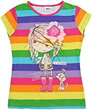 Little Girls Short Sleeve Printing Stripe Pure Cotton Plain Tees T-Shirts