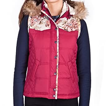 Bellfield Crosshill Womens Floral Print Gilet With Detachable Hood (S - UK 10, Dark Red)