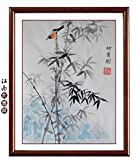 Oridental Artwork Unframed Hand Painted Art Chinese Brush Ink and Wash Watercolor Painting Drawing Picture on Rice Paper Bamboo Sparrow Decorations for Office Living Room