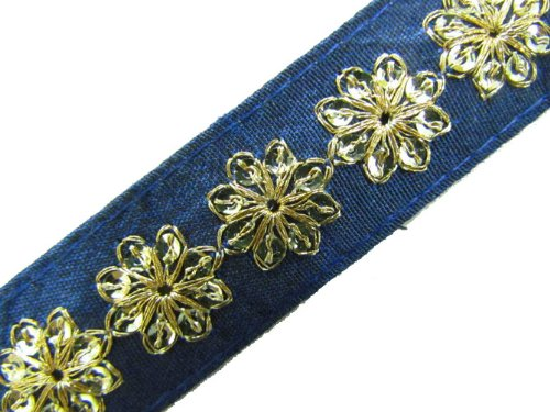 1 Y Thin Navy Blue Base Gold Sequin Ribbon Trim Sewing Lace Craft