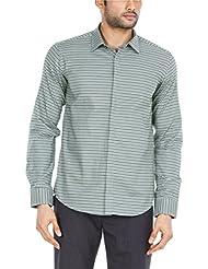 Zovi Men's Cotton Grey And Black Striped Slim-fit Formal Shirt (11302707901)