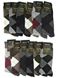 Mens Argyle Dress Socks Cotton Blend 12 Pair Sizes 10-13