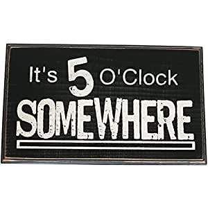 It 39 s 5 o 39 clock somewhere vintage wood sign for for Bar decor amazon