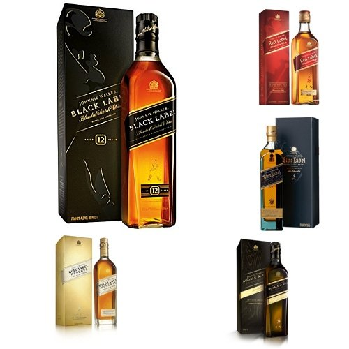 discount duty free The Ultimate Johnnie Walker Collection (70cls) - Red, Black, Double Black, Gold, Platinum and Blue Label Blended Scotch Whisky