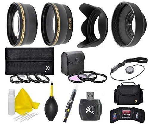 58mm Camera Accessory Kit (Wide angle, Telephoto, Lens Hood, Bag, Filters, Macro Lens Kit + More) For Canon PowerShot SX540 SX530 SX520 SX60 SX50 SX40 HS SX30 SX20 SX10 IS (Lens Cap For Canon Sx520 Hs compare prices)