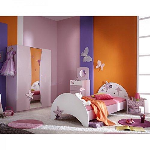 cravog kinderzimmer 4 teilig sternchen bett kleiderschrank nachtkommode m dchen jugendzimmer lila. Black Bedroom Furniture Sets. Home Design Ideas