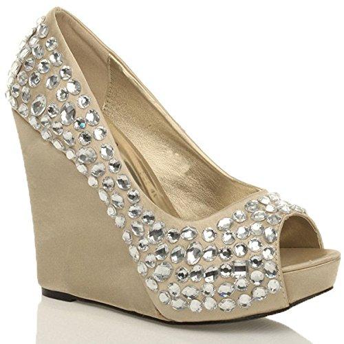 Donna gemme tacco alto zeppa sandali plateau scarpe punta aperta taglia 5 38