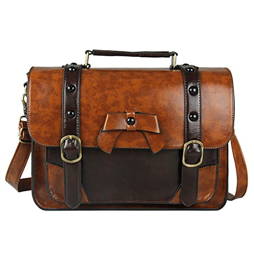 Ecosusi Vintage Designer PU Leather Satchel Bag