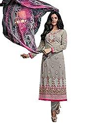 Khushi Trendz Georgette Grey Semi Stitched Salwar Suit