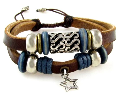 Lucky Star Leather Zen Bracelet - Smaller Size Bracelet for Boys, Girls, Teens, Women, Fits 5 to 7 Inches (Foil Gift Box)